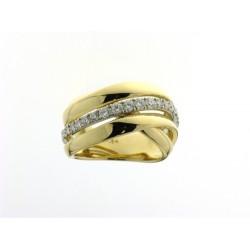 18kt Bicolor gouden ring met briljant 0.635ct - 605061