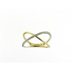 18KT bicolor ring met briljant - 600515