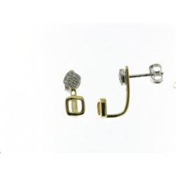 18KT Geelgouden oorringen met briljant - 600608