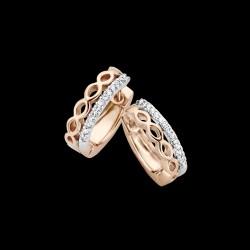 ONE MORE 18kt roze gouden oorringen met briljant 0.10ct - 604117
