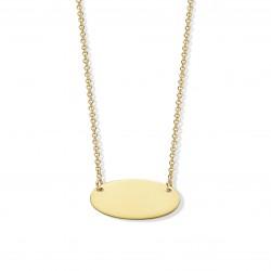 18KT geelgouden halsketting met graveerplaat 42cm - 608595