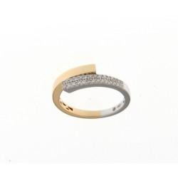 18kt Bicolor gouden ring met briljant 0.20ct - 606888
