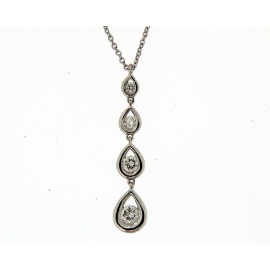 18kt witgouden halsketting met briljant 0.36ct - 608810