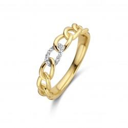 18kt Bicolor gouden ring met briljant 0.03ct - 608798