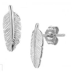 Zilveren oorringen - pluimpje - 608061