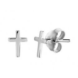 Zilveren oorringen - kruisje - 607724
