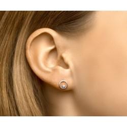 Zilveren oorringen - rondje met zircoon - 607725