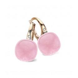 BIGLI Mini Sweety - 18kt rose gouden oorringen met roze kwarts + parelmoer 12ct en diamant 0.02ct - 609776