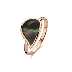 BIGLI Mini Leaves - 18kt rose gouden ring met bergkristal en parelmoer - 609848