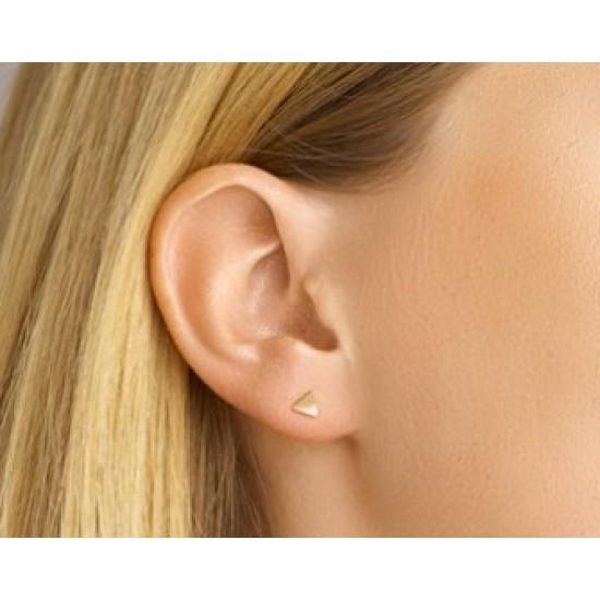 Zilveren oorstekers driehoek gold plated - 604247