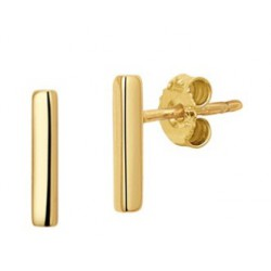 Zilveren oorstekers - staafje gold plated - 604248