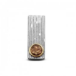 SEE YOU zilveren hanger met 14kt geelgouden randje - 608003