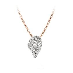 BIGLI Mini Leaves - 18kt rose gouden halsketting met diamanten hanger 0.22ct - 609835