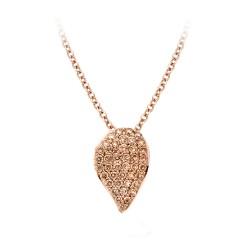 BIGLI Mini Leaves - 18kt rose gouden halsketting met diamanten hanger 0.36ct - 609836
