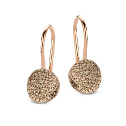 BIGLI Mini Leaves - 18kt rose gouden oorringen met bruine diamant 0.77ct - 609851