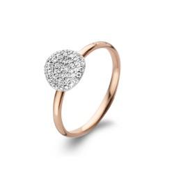 BIGLI Mini Leaves - 18kt bicolor gouden ring met diamant 0.27ct - 609841