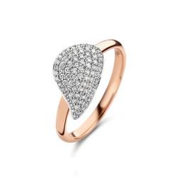 BIGLI Mini Leaves - 18kt bicolor gouden ring met diamant 0.45ct - 609839