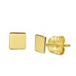 14kt geel gouden oorringen - vierkantjes - 605900