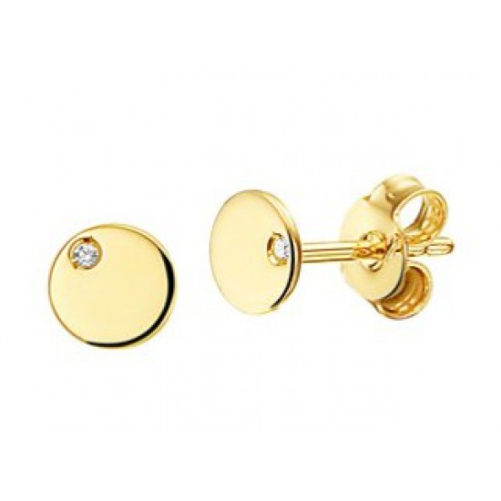 14kt geel gouden oorringen - rondjes met diamant 0.01ct - 605902