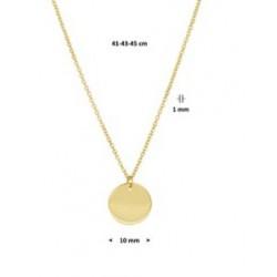 14kt gouden ketting met rond graveerplaatje - 605266