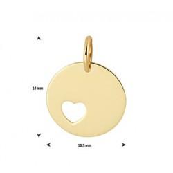 14kt Geelgouden graveerplaat hanger - rondje met hartje - 609079