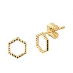 14kt geel gouden oorringen - zeshoek - 607761