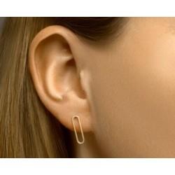 14kt geelgouden oorringen - ovale cirkel - 607764