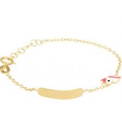 14kt geel gouden geboorte armband met naamplaat - eenhoorn - 608342