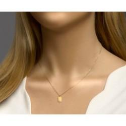 14kt geel gouden halsketting met graveerplaatje - 608343