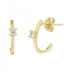 14kt geel gouden oorringen met zirconium - 610474