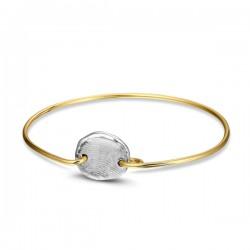 SEE YOU 14kt geelgouden esclave armband met zilveren vingerafdruk - 608033
