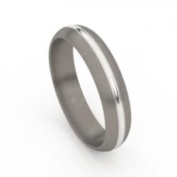 Tessina trouwring in witgoud + titanium - 51456