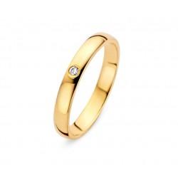 DUO 18kt geel gouden trouwring met briljant 0.023ct - 609457