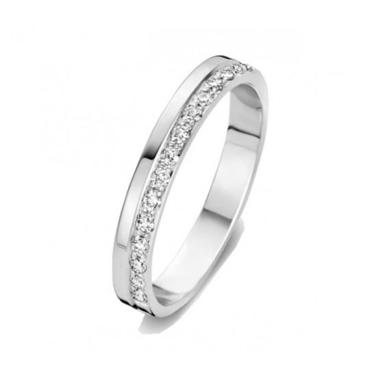 DUO 18kt wit gouden trouwring met briljant 0.15ct - 605614