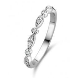DUO 18kt wit gouden trouwring met briljant 0.11ct - 607632
