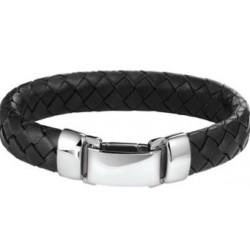 Lederen armband met stalen slot - 607328