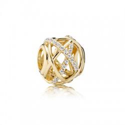Pandora 14kt gouden bedel - openwork abstract gold charm with cubic zirconia - 601671