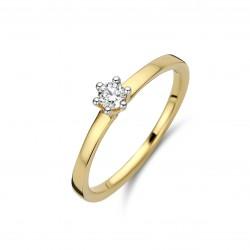 18kt Bicolor gouden ring met briljant 0.13ct - 608931