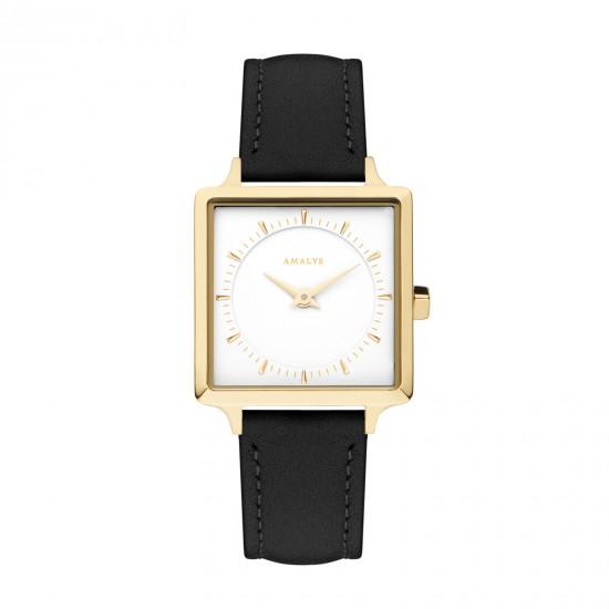 AMALYS gele dames uurwerk op zwarte lederen band - quartz 3ATM - 602231