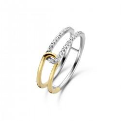 NAIOMY zilveren bicolor ring met zirconium, geel verguld - 609927