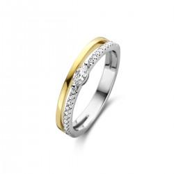 NAIOMY zilveren bicolor ring met zirconium - 609932