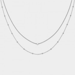 CLUSE Essentiele silver set of two necklace with petite hexagon - 604210