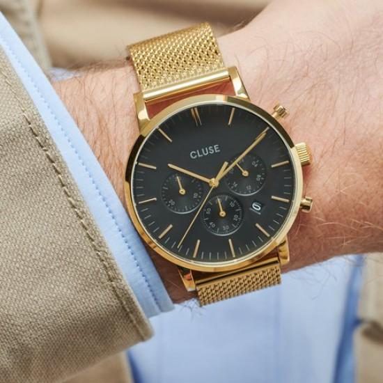 CLUSE Aravis heren chrono uurwerk met batterij, gold - 606516