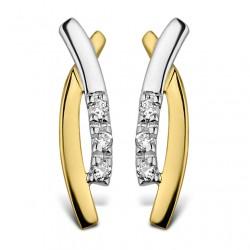 DULCI NEA - 18kt bicolor gouden oorringen met briljant 0.03ct - 604970
