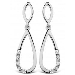 DULCI NEA - 18 kt witgouden oorringen met diamant - 602259