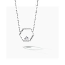 FJF Jewellery zilveren halsketting met pentagon met Swarovski - 609205
