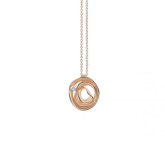 ANNA MARIA CAMMILLI 18kt rose gouden halsketting met hanger, bezet met briljant 0.04ct - 606824