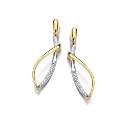 DULCI NEA - 18kt bicolor gouden oorringen met briljant 0.07ct - 604963