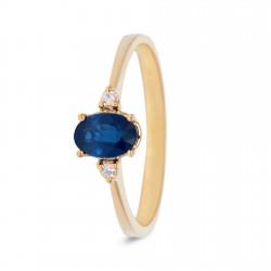 MISS SPRING 18kt geelgouden ring met briljant en saffier - 608052