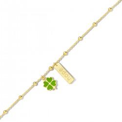 NAIOMY PRINCESS zilveren armband met graveerplaat & klavertje 4, geel verguld - 607685